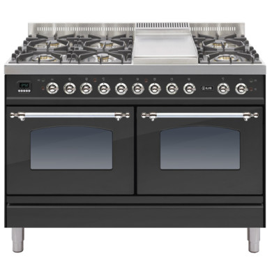 ILVE Milano 120cm Range Cooker 6 Burner Fry Top Matt Black Chrome - PDN120FE3/MX