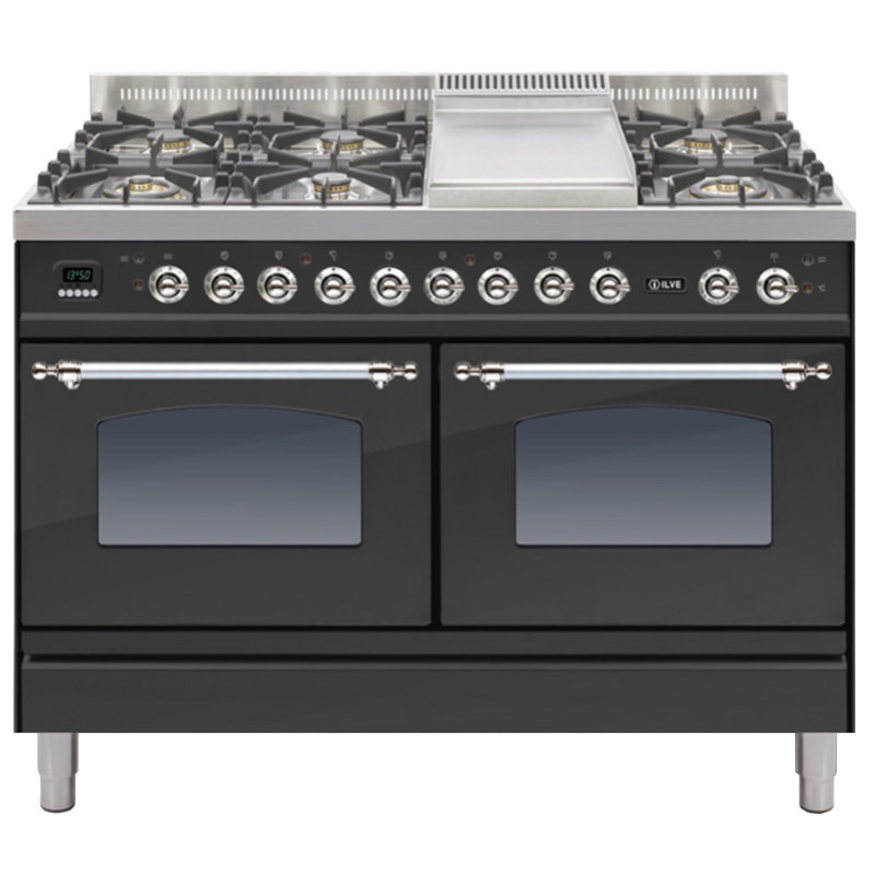 ILVE Milano 120cm Range Cooker 6 Burner Fry Top Matt Black Chrome - PDN120FE3/MX primary image