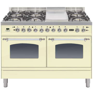 ILVE Milano 120cm Range Cooker 6 Burner Fry Top Cream Chrome - PDN120FE3/AX
