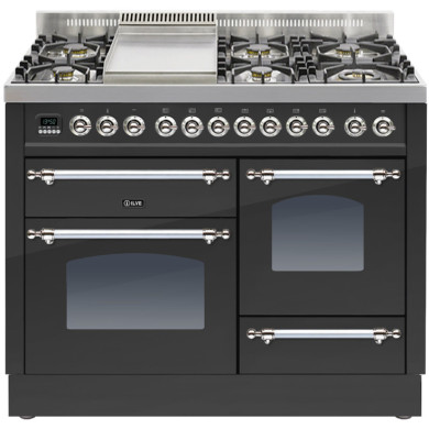 ILVE Milano 110cm XG Range Cooker 6 Burner Fry Top Matt Black Chrome - PTN110FE3/MX