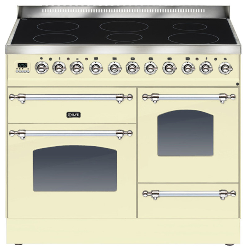 ILVE Milano 100cm XG Range Cooker 6 Zone Induction Cream Chrome - PTNI100E3/AX primary image