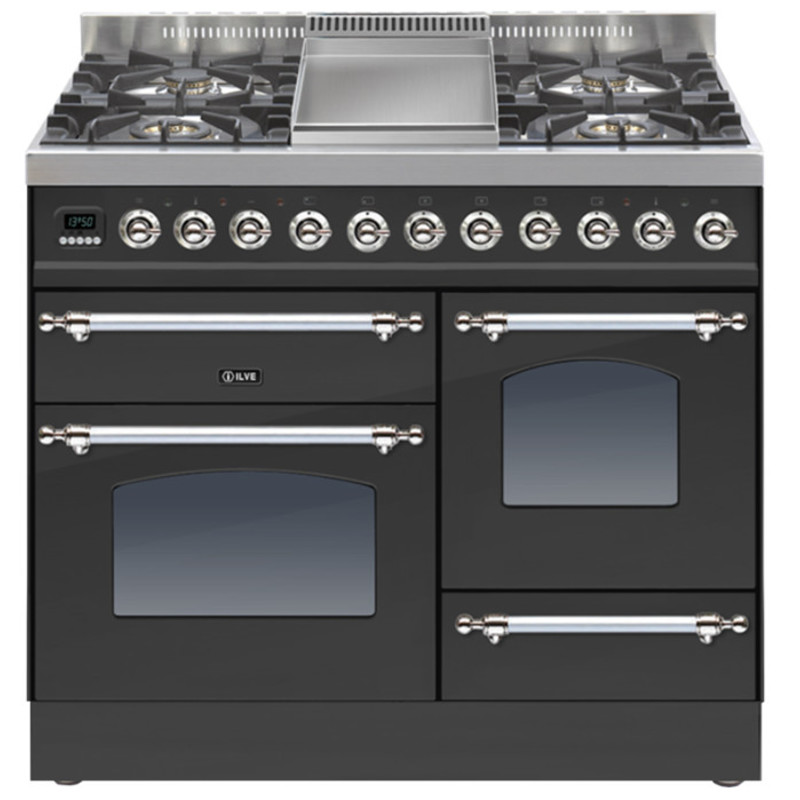 ILVE Milano 100cm XG Range Cooker 4 Burner Fry Top Matt Black Chrome - PTN100FE3/MX primary image
