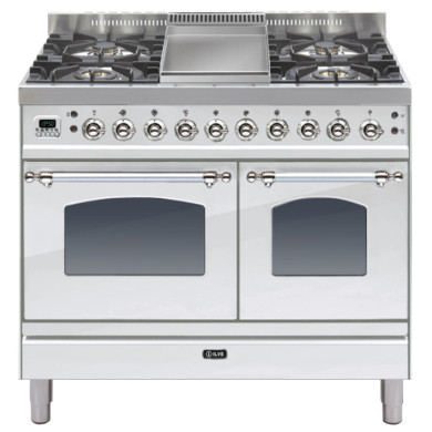 ILVE Milano 100cm Twin Range Cooker 4 Burner Fry Top Stainless Steel Chrome - PDN100FE3/IX