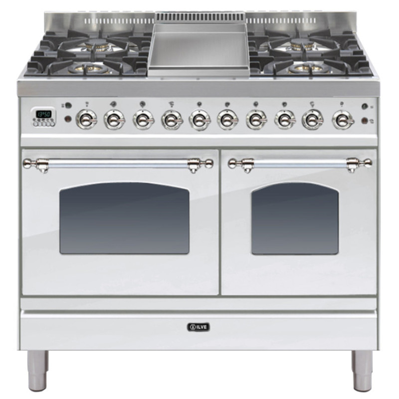 ILVE Milano 100cm Twin Range Cooker 4 Burner Fry Top Stainless Steel Chrome - PDN100FE3/IX primary image