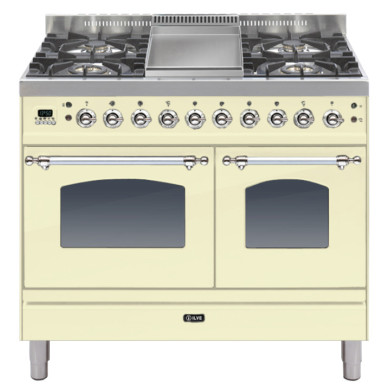 ILVE Milano 100cm Twin Range Cooker 4 Burner Fry Top Cream Chrome - PDN100FE3/AX