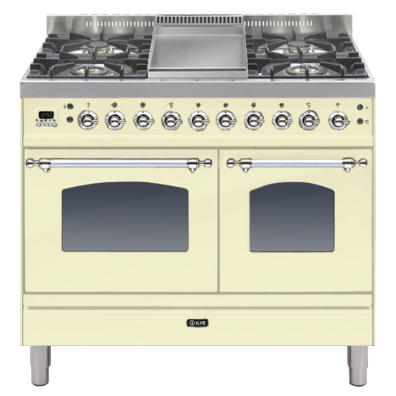 ILVE Milano 100cm Twin Range Cooker 4 Burner Fry Top Cream Chrome - PDN100FE3/AX primary image
