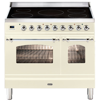ILVE Milano 90cm Twin Range Cooker 5 Zone Induction Cream Chrome