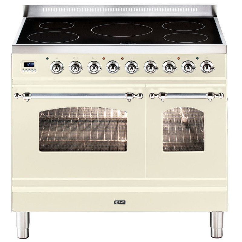 ILVE Milano 90cm Twin Range Cooker 5 Zone Induction Cream Chrome primary image