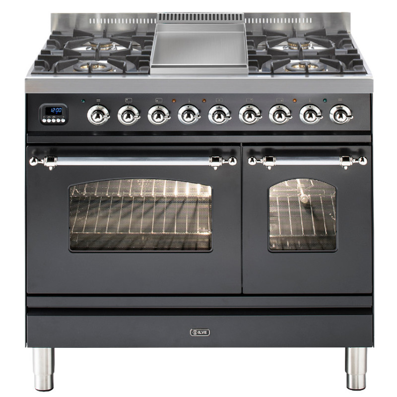 ILVE Milano 90cm Twin Range Cooker 4 Burner Fry Top Matt Black Chrome - PDN90FE3/MX primary image