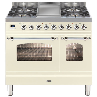 ILVE Milano 90cm Twin Range Cooker 4 Burner Fry Top Cream Chrome - PDN90FE3/AX
