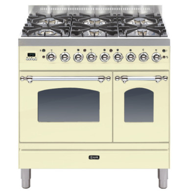 ILVE Milano 90cm Twin Range Cooker 6 Burner Cream Chrome - PDN906E3/AX