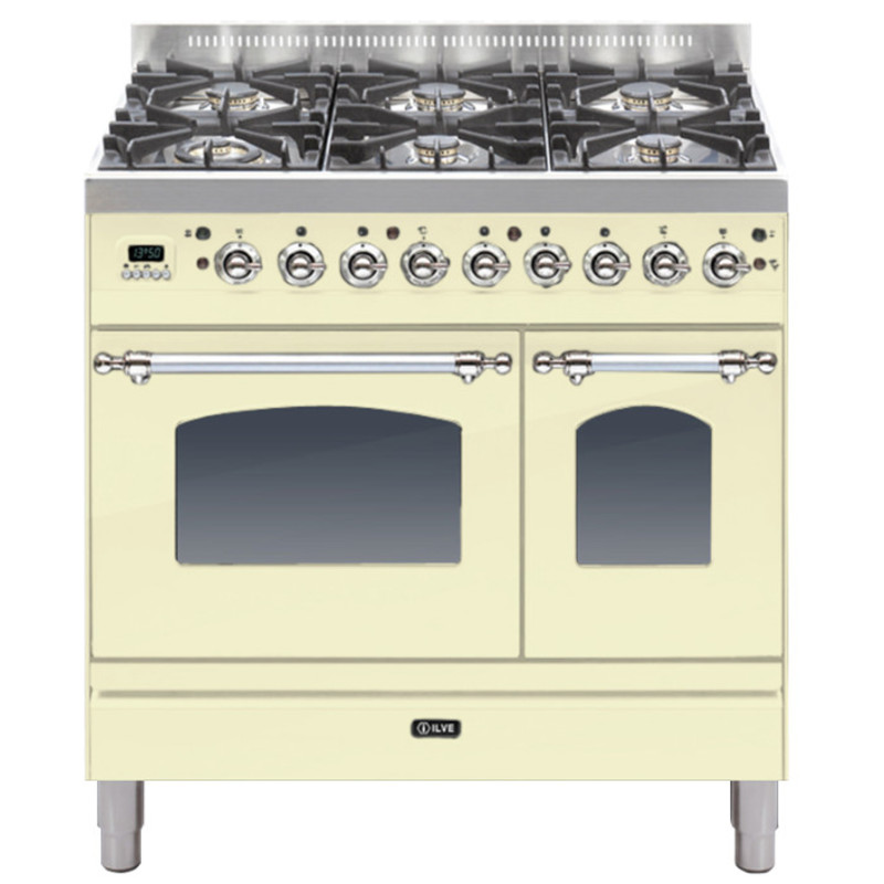 ILVE Milano 90cm Twin Range Cooker 6 Burner Cream Chrome - PDN906E3/AX primary image