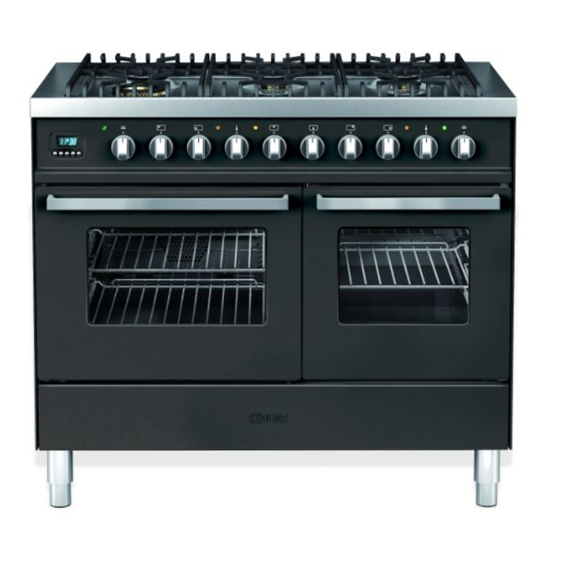 Ilve Venezia 100cm Twin Range Cooker 6 Burner Gloss Black - KD1006WE3/N primary image