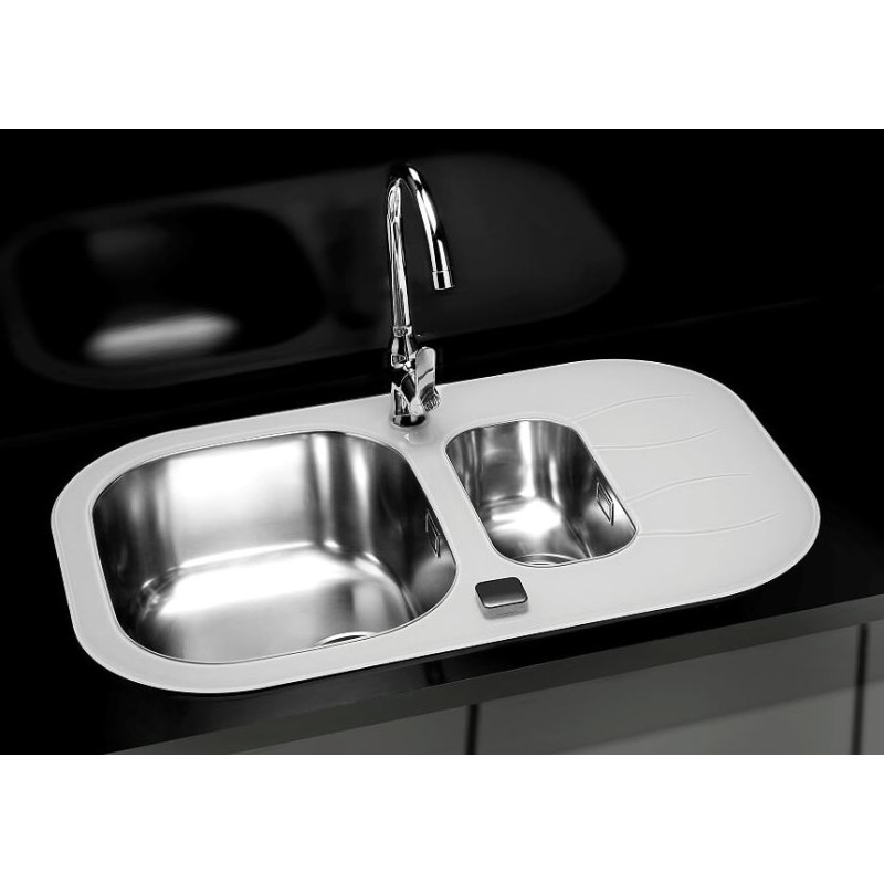760x500 Rydal 1.5 Bowl RVS Round White Glass primary image