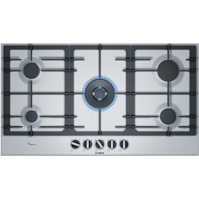 Bosch H45xW915xD520 Gas 5 Burner Hob With Flameselect-S/Steel