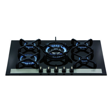 CDA H52xW715xD510 Gas-on-Glass 5 Burner Hob - Black