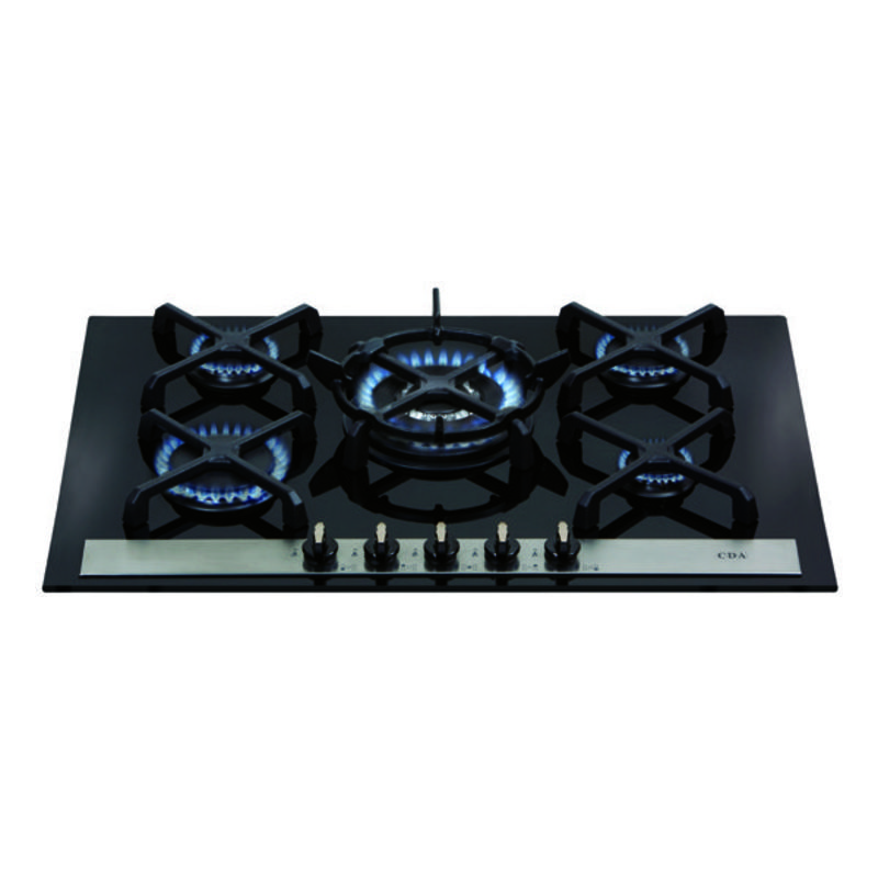 CDA H52xW715xD510 Gas-on-Glass 5 Burner Hob - Black primary image