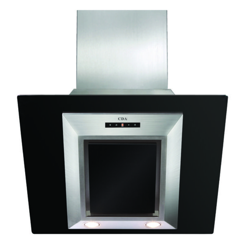 CDA H1360xW600xD340 Angled Glass Chimney Cooker Hood - Black - EVG6BL primary image