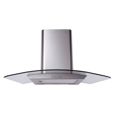 Matrix H731xW900xD500 Curved Glass Chimney Cooker Hood - Stainless Steel - MEP901SS
