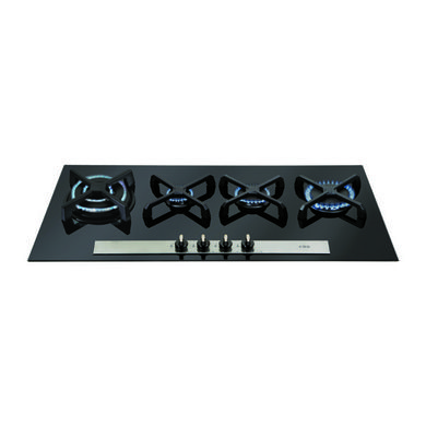 CDA H52xW960xD370 Linear Gas-on-Glass 4 Burner Hob - Black Glass