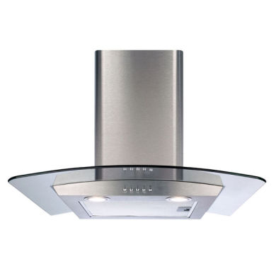 CDA H1020xW600xD500 Curved Glass Chimney Cooker Hood - Stainless Steel