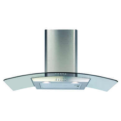 CDA H1020xW800xD500 Curved Glass Chimney Cooker Hood - Stainless Steel