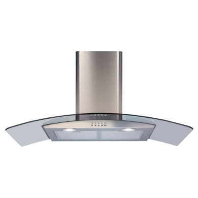 CDA H1020xW900xD500 Curved Glass Chimney Cooker Hood - Stainless Steel