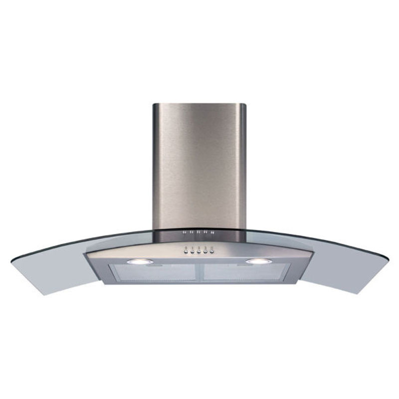 CDA H1020xW900xD500 Curved Glass Chimney Cooker Hood - Stainless Steel primary image