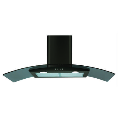 CDA H1020xW1000xD500 Curved Glass Chimney Cooker Hood - Black