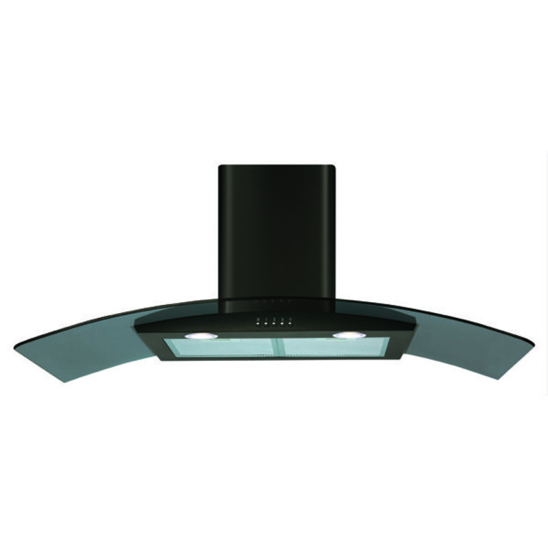CDA H1020xW1000xD500 Curved Glass Chimney Cooker Hood - Black primary image