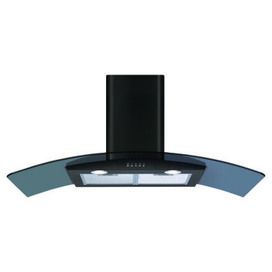 CDA H1020xW1100xD500 Curved Glass Chimney Cooker Hood - Black