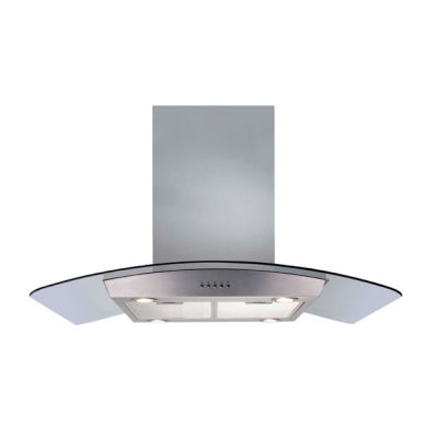 CDA H1030xW900xD600 Island Chimney Cooker Hood - Stainless Steel and Curved Glass