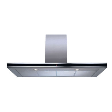 CDA H995xW1200xD490 Chimney Cooker Hood - Stainless Steel - Black Trim
