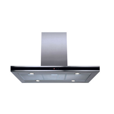 CDA H1067xW900xD600 Island Chimney Cooker Hood - Stainless Steel and Black Trim