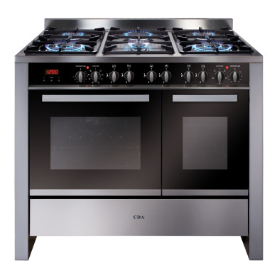 CDA H915xW1000xD600 1000mm Dual Fuel Rangecooker Twin Cavity - Stainless Steel - RV1002SS