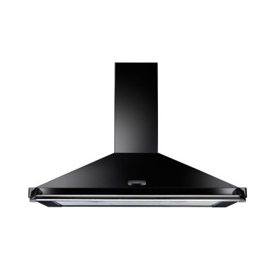 Rangemaster CLAHDC100BC Classic 1000mm Chimney Cooker Hood - Black (Chrome Rail) - CLAHDC100BC/