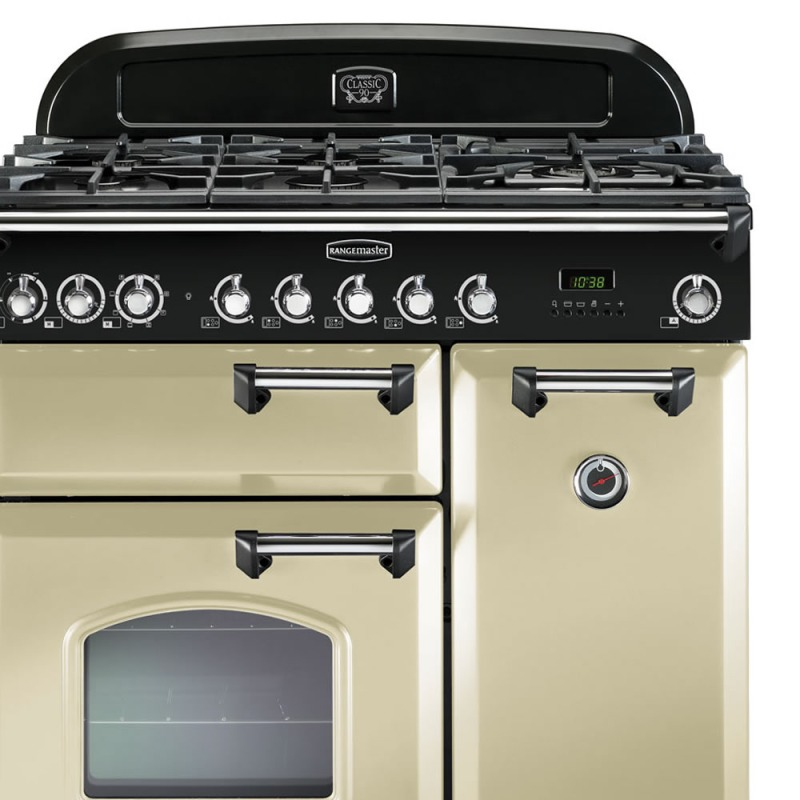 Rangemaster CDL90DFFCR/C Classic Deluxe 90 Dual Fuel FSD - Cream/Chrome additional image 2