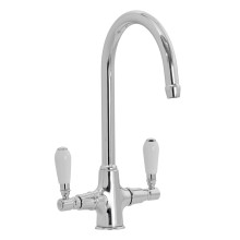 Fortuna Tap Chrome with White Handles - High/Low Pressure