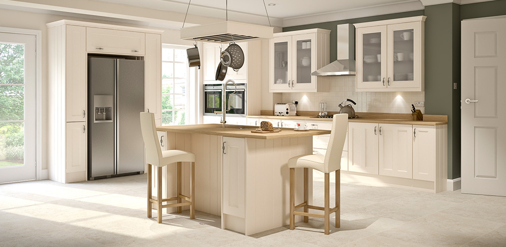 Wren kitchens cream matt shaker and country sage kitchen Howdens kitchen design reviews